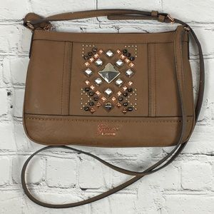 Guess Tan Crossbody Handbag w/Stud detail